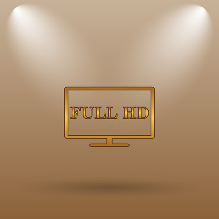 full hd: Full HD icon. Internet button on brown background. Stock Photo