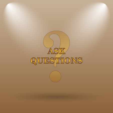 inquiry: Ask questions icon. Internet button on brown background.