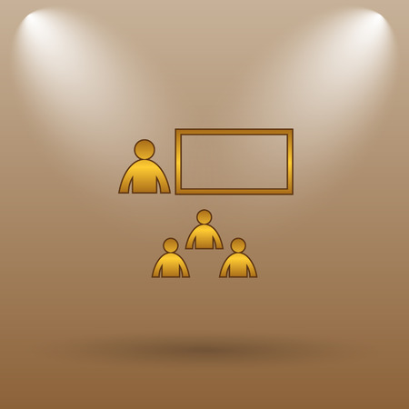 stage coach: Presenting icon. Internet button on brown background.