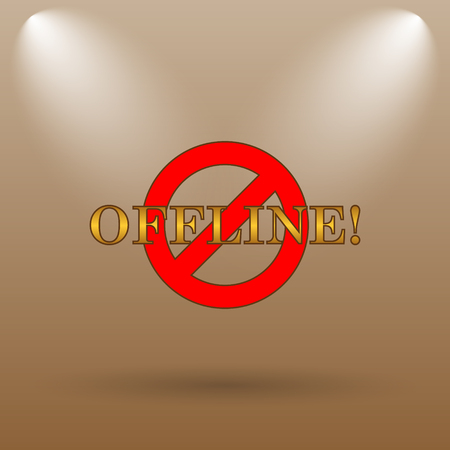 offline: Offline icon. Internet button on brown background. Stock Photo