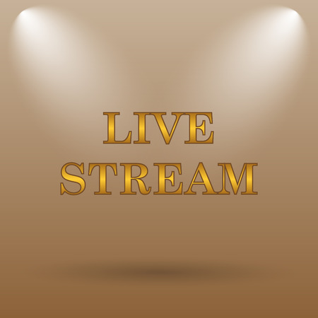 news cast: Live stream icon. Internet button on brown background.