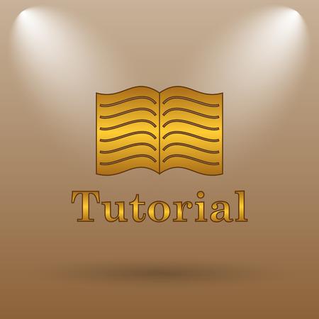 tutorial: Tutorial icon. Internet button on brown background.