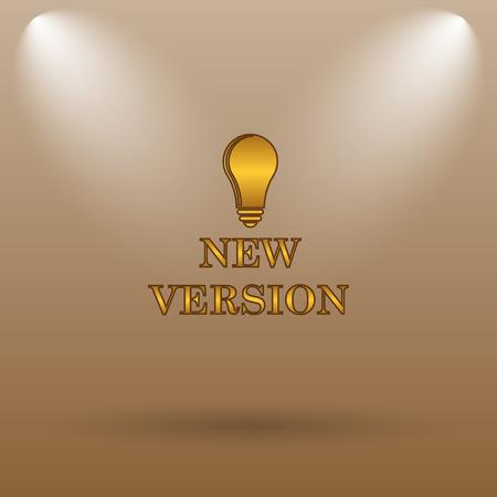 version: New version icon. Internet button on brown background.