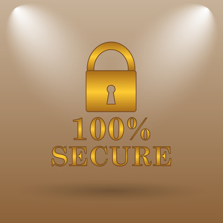 trusty: 100 percent secure icon. Internet button on brown background.