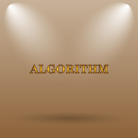 algorithm: Algorithm icon. Internet button on brown background.