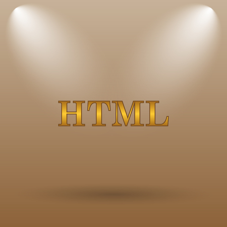 html5: HTML icon. Internet button on brown background.