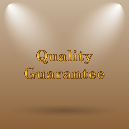 guarantee icon: Quality guarantee icon. Internet button on brown background. Stock Photo