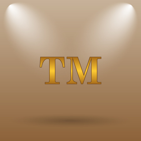trade mark: Trade mark icon. Internet button on brown background.
