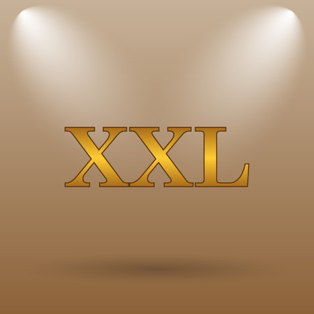 size specification: XXL  icon. Internet button on brown background. Stock Photo