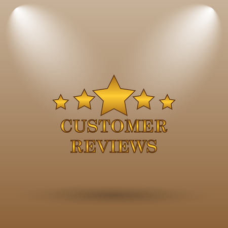 recommend: Customer reviews icon. Internet button on brown background.