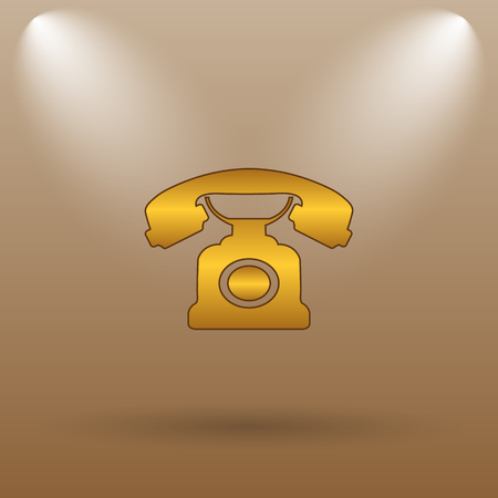 phone button: Phone icon. Internet button on brown background. Stock Photo