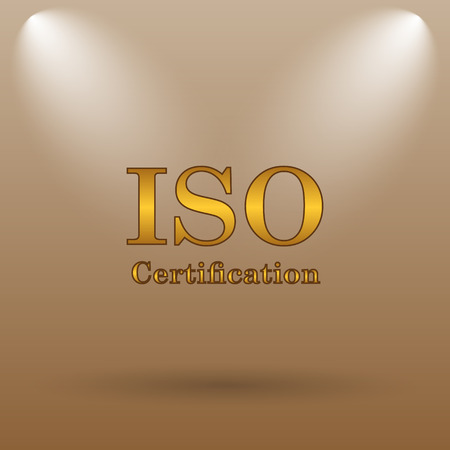certification: ISO certification icon. Internet button on brown background.