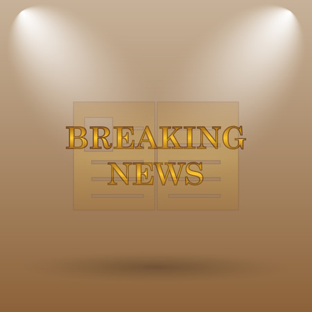 newsflash: Breaking news icon. Internet button on brown background. Stock Photo