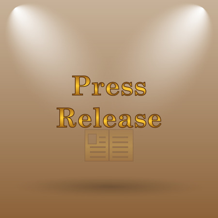 release: Press release icon. Internet button on brown background.