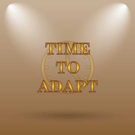 adapting: Time to adapt icon. Internet button on brown background.