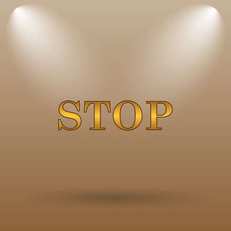 run off: Stop icon. Internet button on brown background.