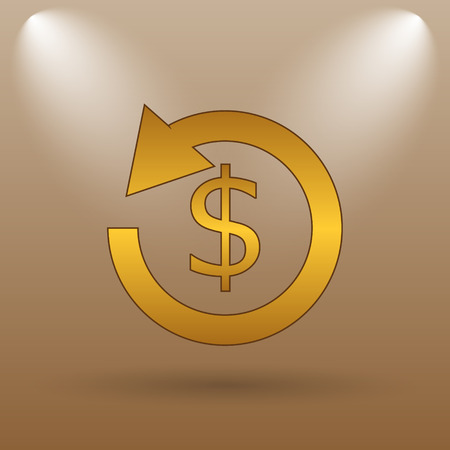 refunds: Refund icon. Internet button on brown background. Stock Photo