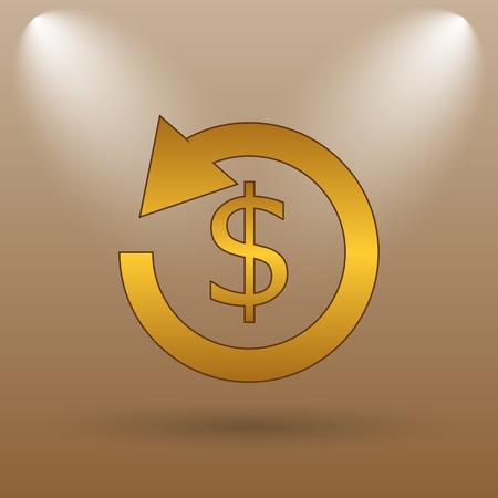 restitution: Refund icon. Internet button on brown background. Stock Photo