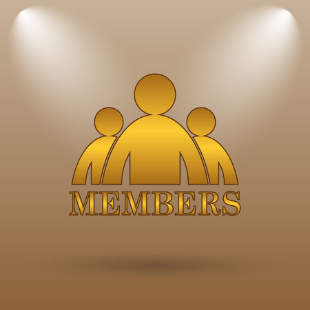 members: Members icon. Internet button on brown background.