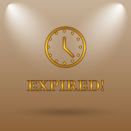 expired: Expired icon. Internet button on brown background.