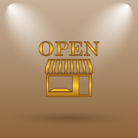 caf: Open store icon. Internet button on brown background.
