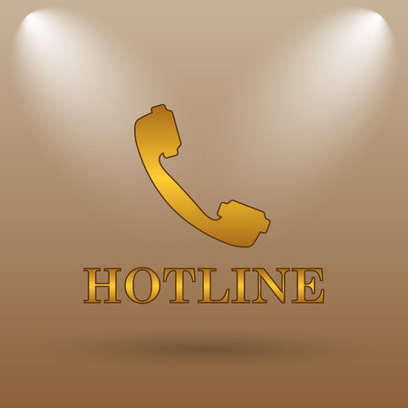 hotline: Hotline icon. Internet button on brown background. Stock Photo