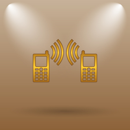palmtop: Communication icon. Internet button on brown background.