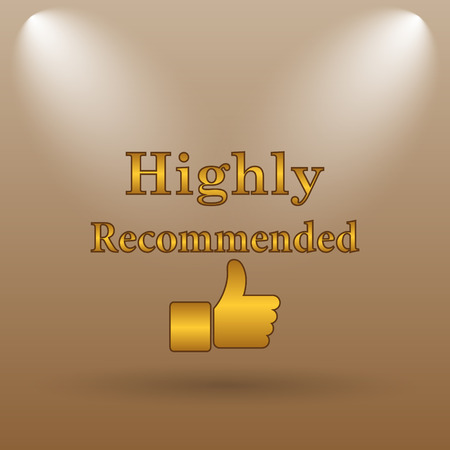 recommendations: Highly recommended icon. Internet button on brown background. Stock Photo