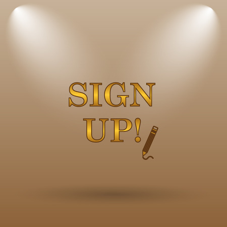 subscribing: Sign up icon. Internet button on brown background.