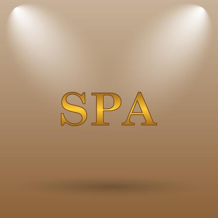 massage symbol: Spa icon. Internet button on brown background.
