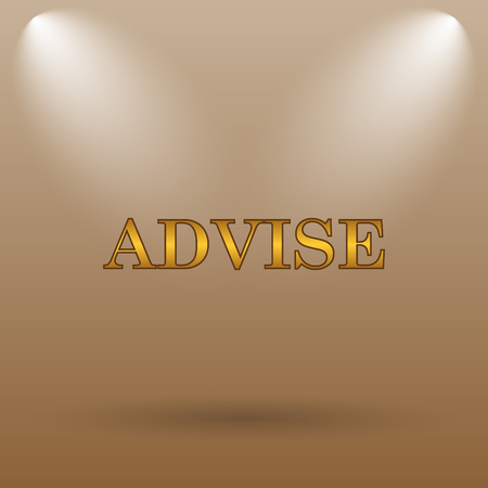 advise: Advise icon. Internet button on brown background.