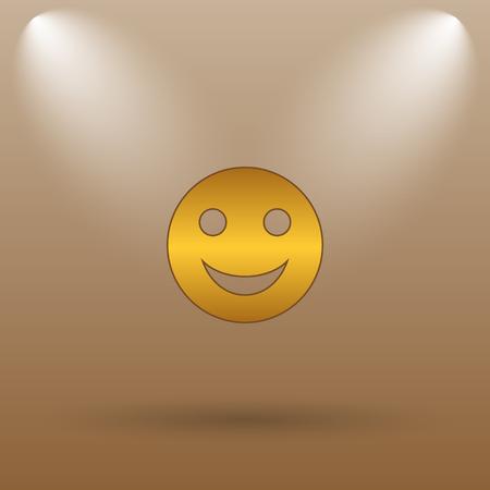 smily: Smiley icon. Internet button on brown background. Stock Photo