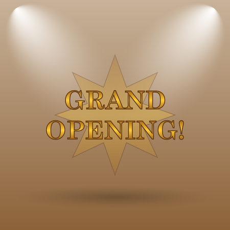 inauguration: Grand opening icon. Internet button on brown background.