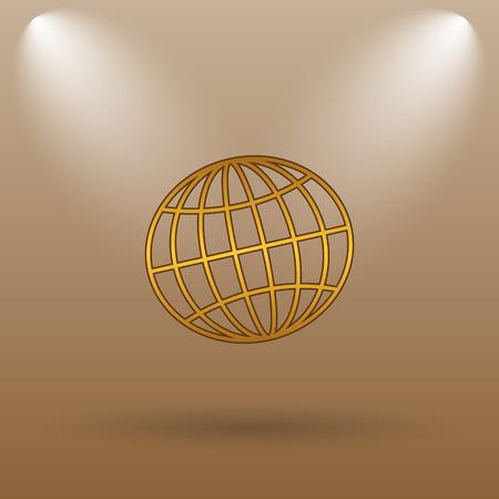parallel world: Globe icon. Internet button on brown background. Stock Photo