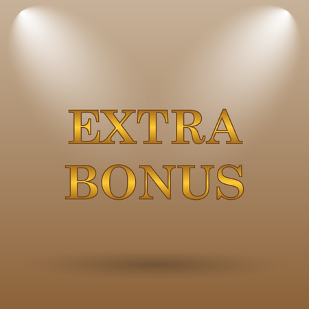 extra cash: Extra bonus icon. Internet button on brown background.