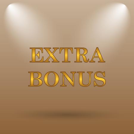 rebate: Extra bonus icon. Internet button on brown background.