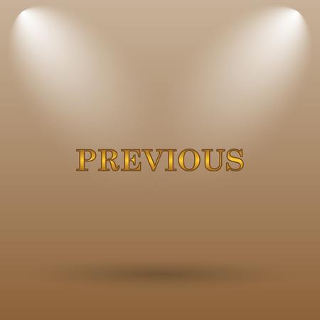 previous: Previous icon. Internet button on brown background.