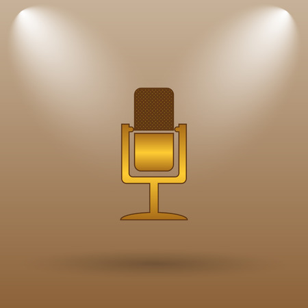 talk show: Microphone icon. Internet button on brown background.