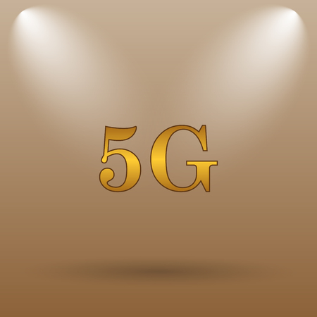 5g: 5G icon. Internet button on brown background. Stock Photo