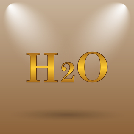 laboratory label: H2O icon. Internet button on brown background. Stock Photo