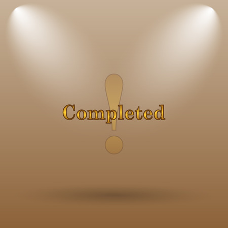 canceled: Completed icon. Internet button on brown background. Stock Photo