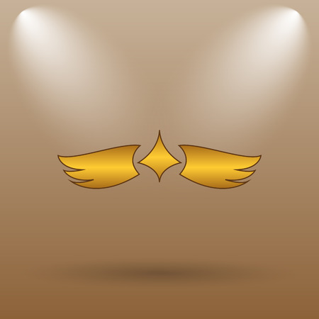 chastity: Wings icon. Internet button on brown background. Stock Photo