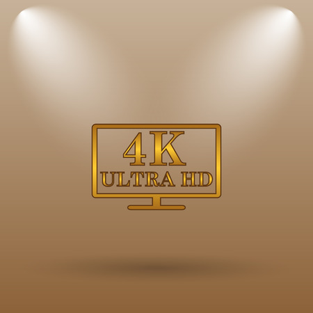 ultra: 4K ultra HD icon. Internet button on brown background.