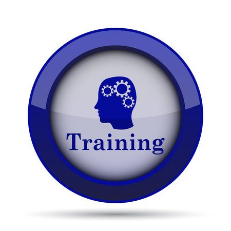blue button: Training icon. Internet button on white background. Stock Photo