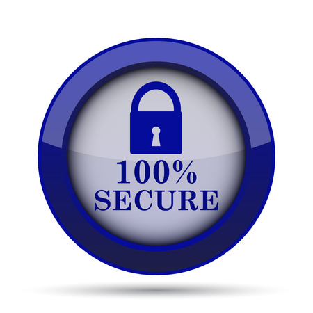 reassurance: 100 percent secure icon. Internet button on white background. Stock Photo