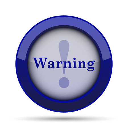 jeopardy: Warning icon. Internet button on white background. Stock Photo