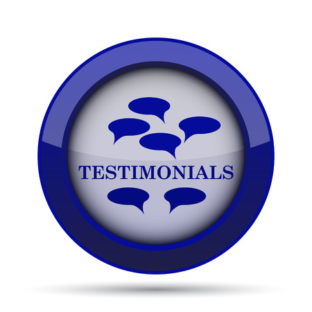 testimonials: Testimonials icon. Internet button on white background.