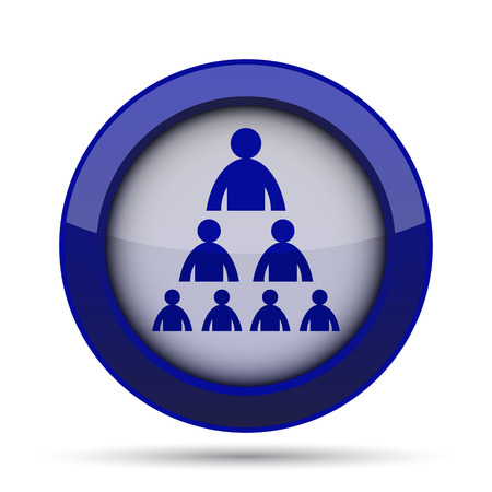 layers levels: Organizational chart with people icon. Internet button on white background.