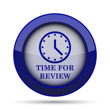 revision: Time for review icon. Internet button on white background. Stock Photo