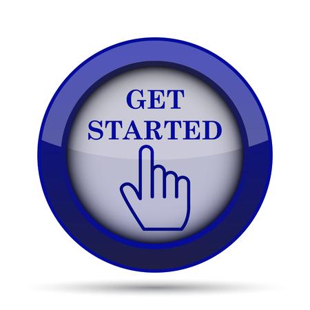 Erste Schritte Symbol. Internet-Taste auf weißem Hintergrund.